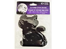 Glittered Foam Black Cat Shapes, 10 Count