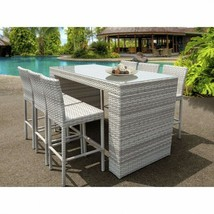 Outdoor Bar Set 7 Piece Weatherproof Wicker Patio Furniture - Table + 6 ... - $1,960.72