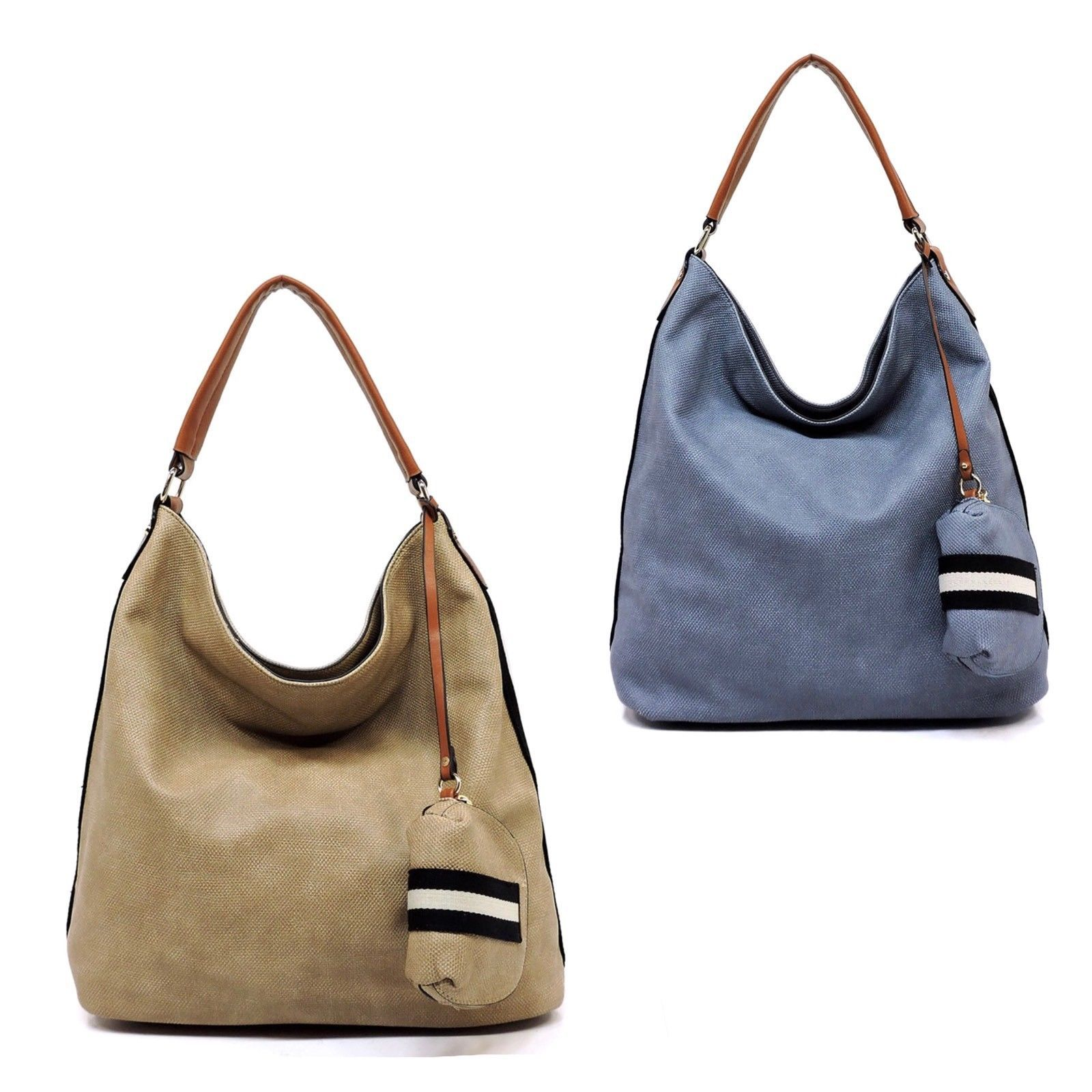 New Side Stripe Denim Textured Vegan Leather Hobo Handbag Shoulder Bag