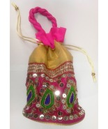 Embroidered Sequin Potli Batwa Pink & Golden Color Ethnic from India - $12.09