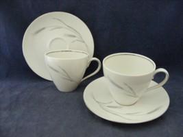 Johann Haviland Bavaria Germany Silver Wheat 2 Cups & Saucer Sets - $9.95