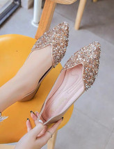 Sequin Gold Ballet Flats Slippers Shoes Evening Shoe Party flat Wedding ... - £39.12 GBP