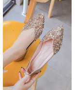 Sequin Gold Ballet Flats Slippers Shoes Evening Shoe Party flat Wedding ... - £39.09 GBP