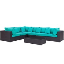 Convene 7 Piece Outdoor Patio Sectional Set Expresso Turquoise EEI-2168-... - $2,593.00