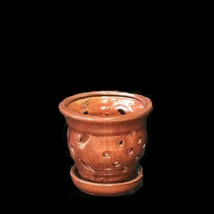 Copper Ceramic Round Orchid Pot w/attached Saucer 5'' by Sophie's Orchids - $25.85