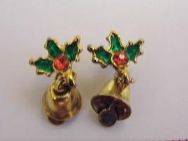 VTG Holiday Christmas 2 Pierced Earrings Gold Tone Bell Costume Fashion ... - $9.66
