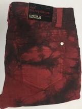 Forever 21 Denim Skinny Jeans Sz 27 x 31 Red & Black Tie Dyed  image 6