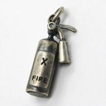 Colgante de Plata 925 , Pulido y Satinado, Extintor, Bombero - $41.71