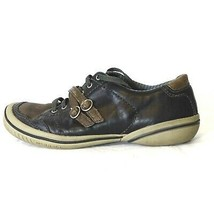 Merrell Lace Up Shoes Vesta Buckled Straps Women Size 8 Navy Blue Brown - $29.67