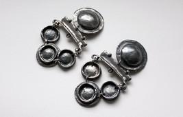 Vintage French designer Chorange large statement earrings silvertone clip on - $48.00