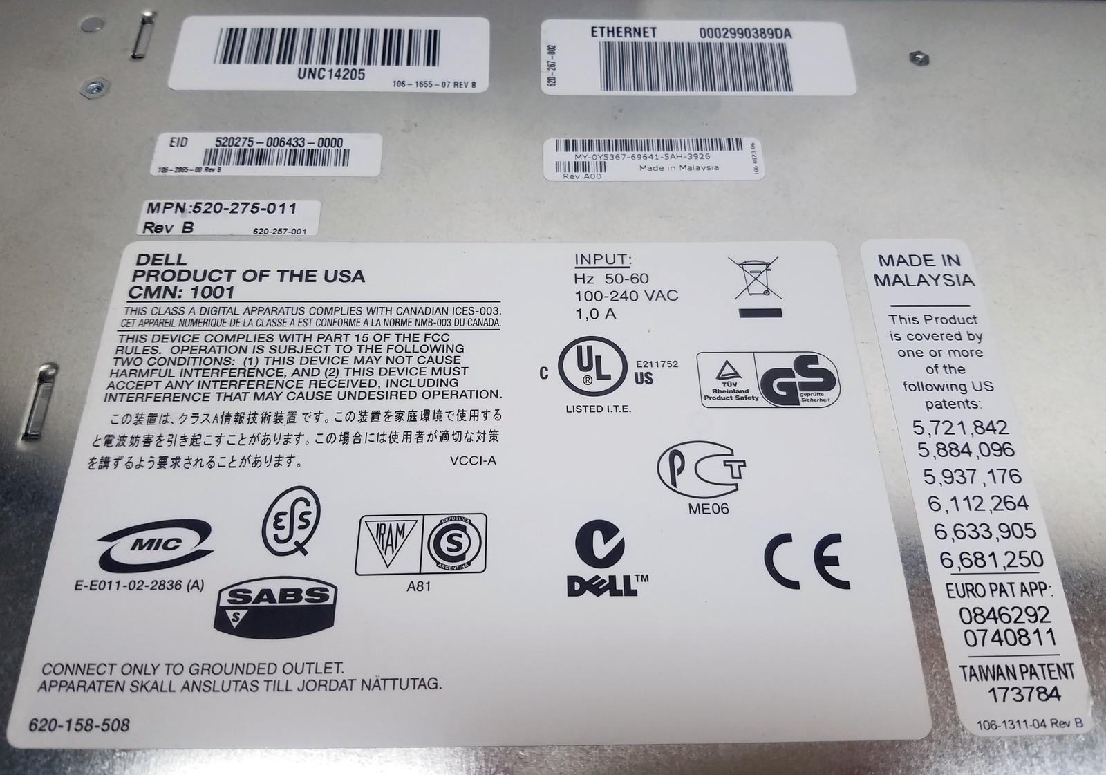Dell 2161DS UNC14205 PowerEdge Console Switch Bin: 12