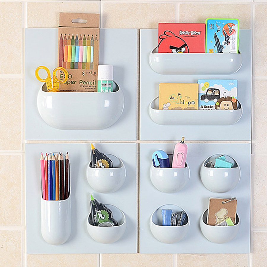 Primary image for ABS Bathroom Storage Box Cosmetics Stickup Organizer Home Kitchen - Light Blue