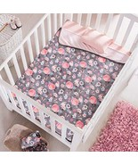 DreamPartyWorld Pink and Grey Reversible Birds Baby Blanket Crib Size So... - $49.45