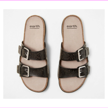 Earth Perforated Leather Slide Sandals- Sand Antigua Black 11 M - $63.04