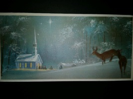 Winter Scene Church Deer Snow Vintage Christmas Card BOGO Sale  - £4.98 GBP