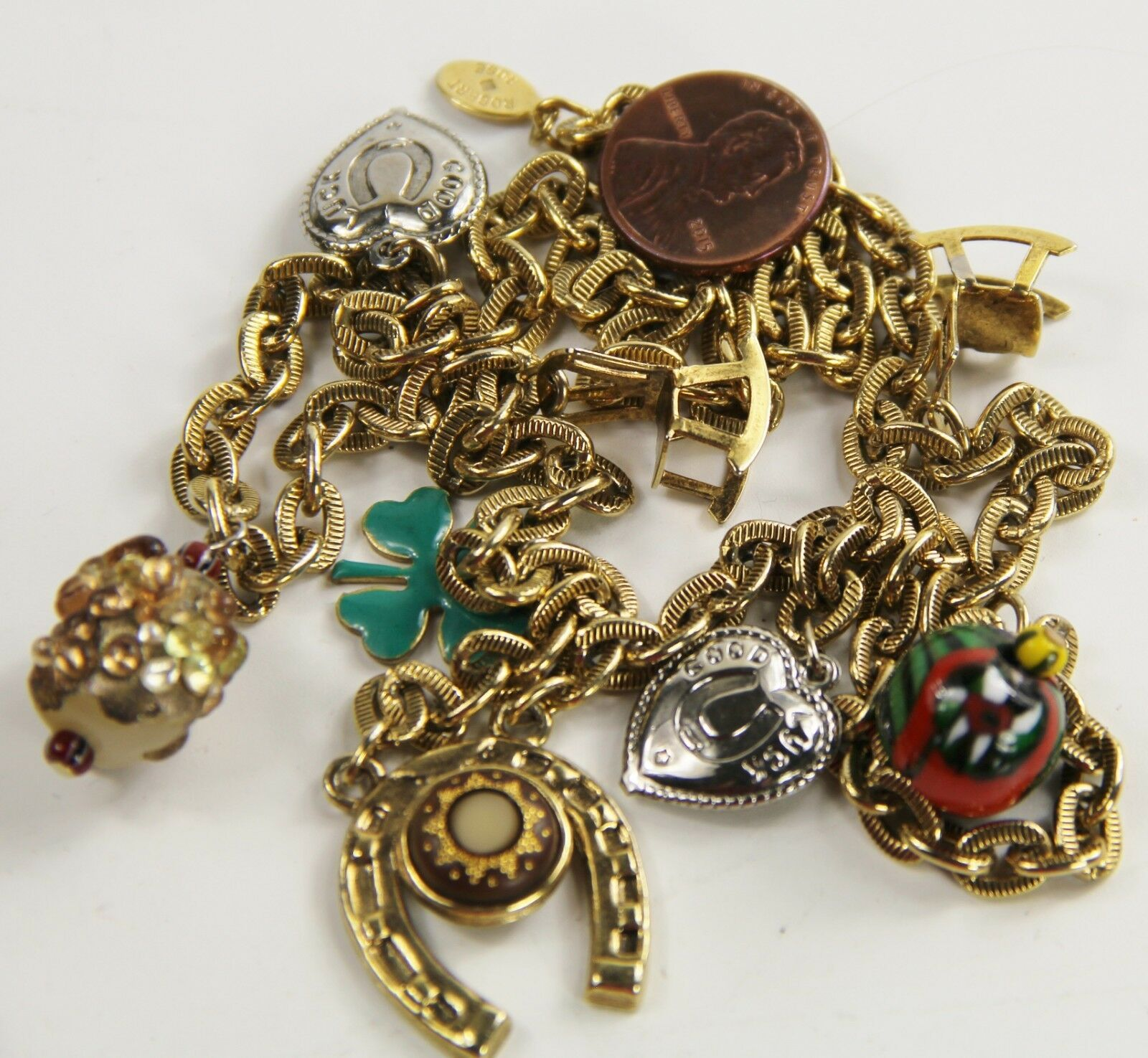 """24"""" ESTATE VINTAGE Jewelry ROBERT ROSE LUCKY CHARMS NECKLACE CLOVER HORSE SHOE +"""