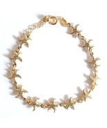 GOLD PLATED QUALITY NICKLE FREE CHARM BRACELET GOLDEN STARFISH ADJUSTABLE. - $14.49