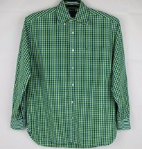 Tommy Hilfiger 80's 2 ply fabric shirt men's long sleeve green size M - $16.69