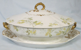 Chase Field Haviland Floral & Gold Oval Covered Serving Dish & Plate 11 ... - $69.19