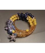 Gemstone Quartz Starfish Bracelet Genuine Sapphire Beads Handmade  - $25.00