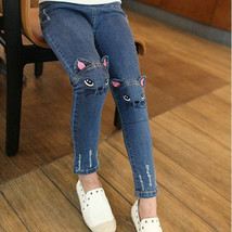 Girl Embroidered Kitten Cute Pattern Cat / Bunny Jeans Fashion Trousers ... - $18.44