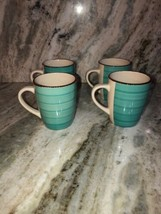 Set Of 4 Royal Norfolk Turquoise Blue Swirl Stoneware 12 Oz. Coffee Mugs Cups - $42.45
