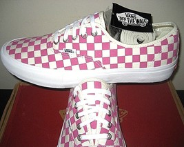 Vans Mens Authentic Pro Checkerboard Fuchsia Pink White Skate shoes Size... - $58.39
