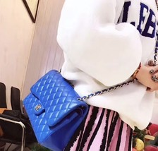 NEW Authentic Chanel BLUE QUILTED LAMBSKIN JUMBO CLASSIC DOUBLE FLAP BAG SHW image 5