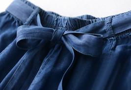 Dark Blue Denim Crop Wide Leg Pants Womens High Waisted Denim Palazzo Pants NWT image 6