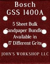 Bosch GSS 1400A - 1/4 Sheet - 17 Grits - No-Slip - 5 Sandpaper Bulk Bundles - $7.14