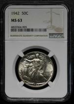 1942 Walking Liberty Half Dollar 90% Silver Coin NGC MS63 Lot# A 483