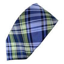 Chaps Ralph Lauren Blue Green Diagonals Plaid Silk Tie Necktie - $11.87