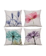 Set of 4 Plant Throw Pillow Covers Decorative Square Cotton Linen Cushio... - £32.83 GBP