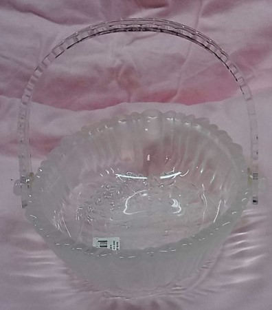 "Mikasa 'Winter's Dream' 9 1/2"" Oval Glass Basket with Label - Made in Germany - $8.49"