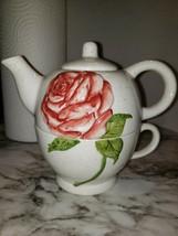 Vintage Rose Design Porcelain Teapot And Teacup Combination - $7.92