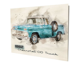 1962 Chevrolet C10 Pickup Truck Water Color Design 16x20 Aluminum Wall Art - $59.35