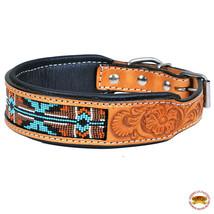 Strong Genuine Leather Dog Collar Padded Beaded Hilason U-C114 - $29.95