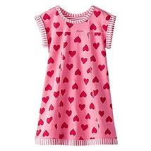 VIKITA Girls Summer Pink Heart Print Sundress Short Sleeve Casual Cotton... - $13.76