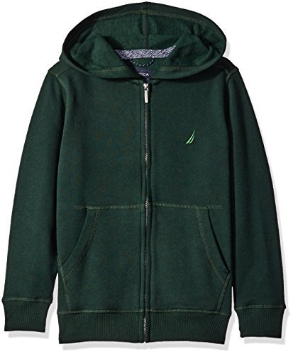 Nautica Little Boys Fleece Full Zip Hoodie with Pouch Pocket, Dark Green, X-Larg