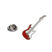 Red Electric Guitar silver plated enamel finish tie pin, Lapel Pin Badge,