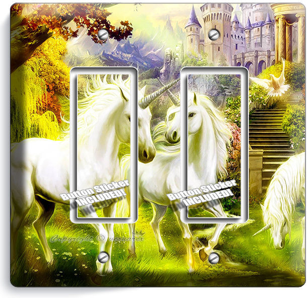 MAGICAL UNICORN LIGHTSWITCH OUTLET WALL PLATE COVER WHIMSICAL FANTASY ROOM DECOR