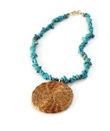 Pendant Necklace Beaded Necklace Genuine Turquoise, Golden Grass Hoop, E... - $25.60