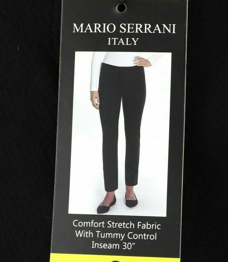 Primary image for Mario Serrani Womens Comfort Stretch Tummy Control Slim Fit Pants Black  Sz 4/30