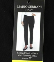 Mario Serrani Womens Comfort Stretch Tummy Control Slim Fit Pants Black ... - $15.79