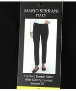 Mario Serrani Womens Comfort Stretch Tummy Control Slim Fit Pants Black ... - $15.79