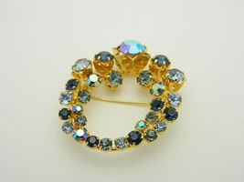 Blue Aurora Borealis Rhinestone Gold Tone Star Flower Vintage Pin Brooch As Is image 3