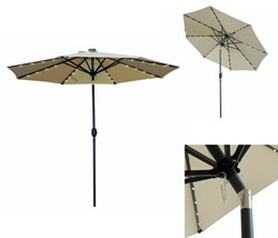 Solar Powered LED Patio Umbrella 32 Lights Fade Resistant Push Button Ti... - $96.94 CAD