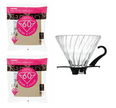 Hario V60 Glass Dripper, Measuring Spoon & 200 Filters All Sold Together - $36.62