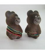 Lot of 2 Vintage 1980 Moscow Olympics Mascot  MISHA Fuzzy Mini Teddy Bears - $9.50