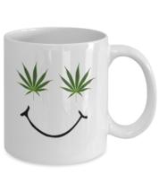 Marijuana coffee mug - Smiley Weed face  - Cannabis 420 cup gift - Ganja stoner - $20.90